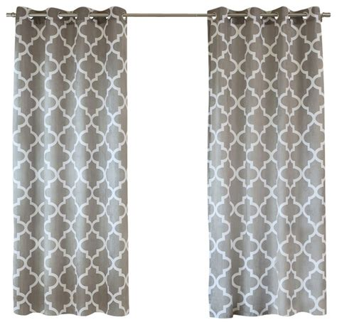 moroccan print curtain panels velvet moroccan print grommet top curtain pair 84 quot l grey