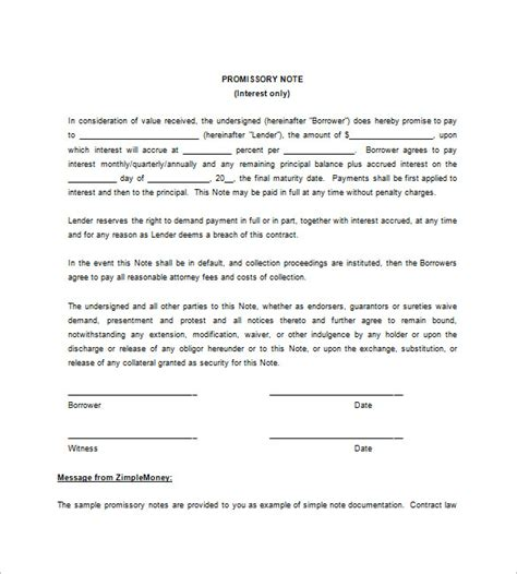 Free Promissory Note Template by Blank Promissory Note Templates 13 Free Word Excel