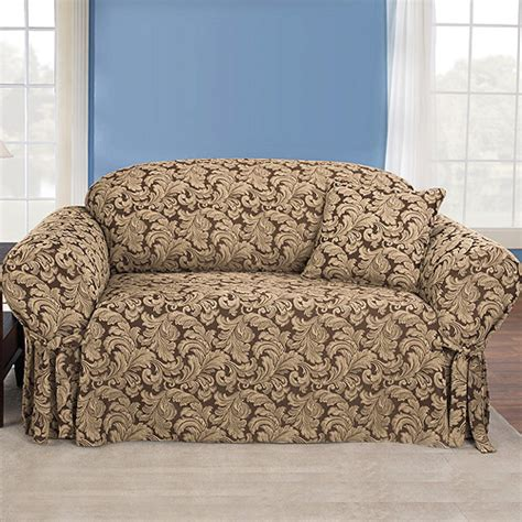 Brown Loveseat Cover by Sure Fit Scroll Brown Loveseat Slipcover Walmart