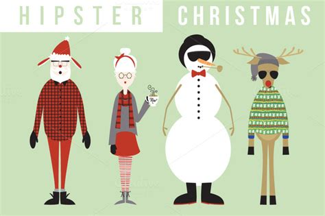 Hipster Christmas (buy 3, Get 1)  Illustrations On