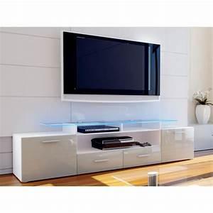 Meuble Blanc Et Gris : meuble tv blanc et sable gris 194 cm achat vente ~ Dailycaller-alerts.com Idées de Décoration