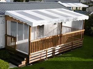 Bache Transparente Pour Terrasse : terrasse en bois couverte pour mobil home mod le b che ~ Dailycaller-alerts.com Idées de Décoration