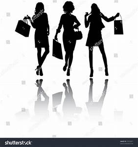 Beautiful Shopping Girls Vector Silhouettes Stock Vector