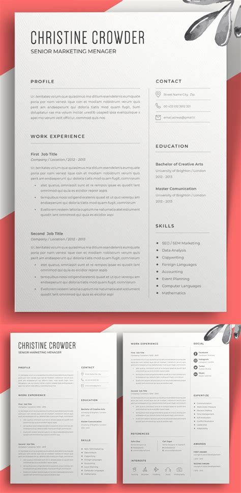 Clean Creative Resume Templates by 30 Creative Clean Cv Resume Templates With Cover Letters