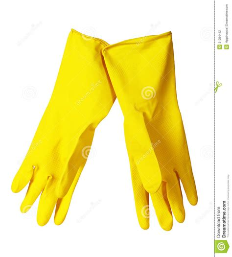yellow kitchen gloves stock photography image