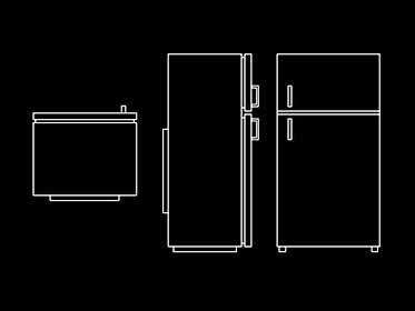 refrigerador nevera bloque de mueble autocad  gratis