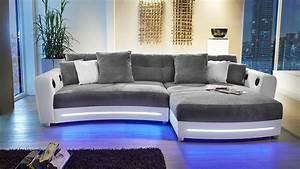 Sofa Mit Led Und Sound : wohnlandschaft laredo sofa wei grau mit led und soundsystem ~ Indierocktalk.com Haus und Dekorationen