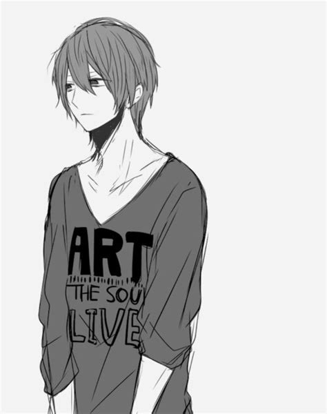 anime anime boy art black and white cool cute guys