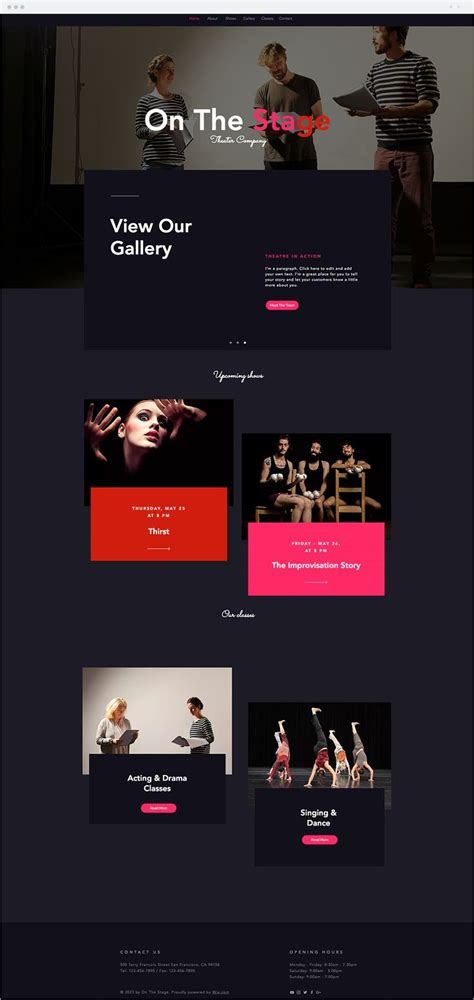 Theatre Company Website Templates 603 best wix website templates images on