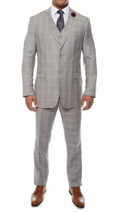 Suit Grey Slim Plaid Zonettie Lazio Vested