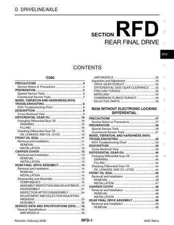 2005 Nissan Xterra - Rear Final Drive (Section RFD) - PDF