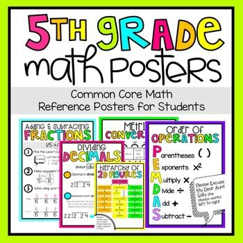 5th Grade Math Posters By Teaching And So Fourth Tpt