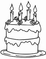 Cake Birthday Coloring Simple Cakes Fancy Clip sketch template