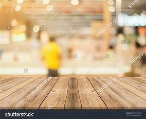 Wooden Board Empty Table Front Blurred Stock Photo
