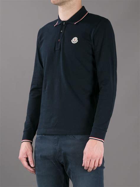 lyst moncler long sleeved polo shirt  black  men