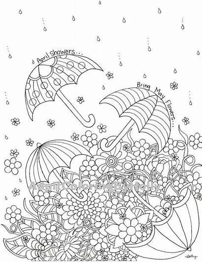 Coloring Pages Adult Flowers April Spring Showers