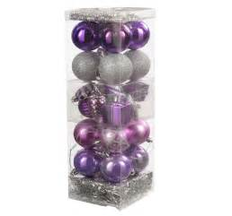 28 christmas tree baubles decoration pack tinsel beads pink purple silver ebay