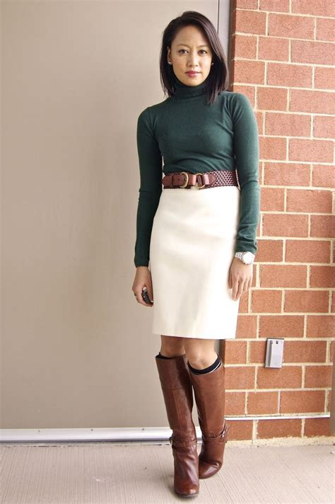 The Best Colors for Office Wear | Green turtleneck White skirts and Work wear