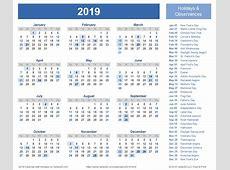 Printable Calendar 2019 With Holidays happyeasterfromcom