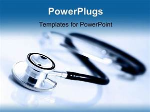 Powerpoint template a close up view of a stethoscope on a for Power plugs powerpoint templates