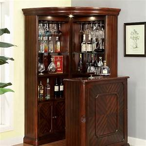 Voltaire Traditional Style Curio Corner Cabinet Bar