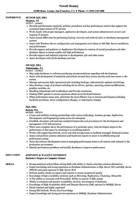 Dba Manager Resume by Sql Dba Resume Sles Velvet