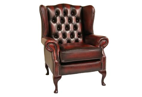leather chesterfield high back wing chair