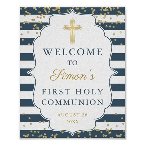 Gold Glitter Navy Blue First Holy Communion Poster