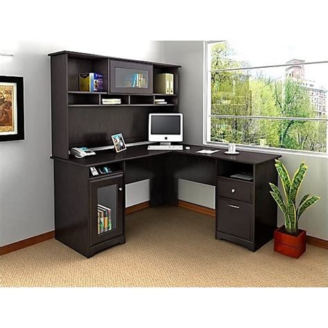 l shaped oak computer desk bush cabot l shaped computer desk with hutch in espresso