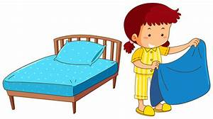Girl making bed on white background Vector