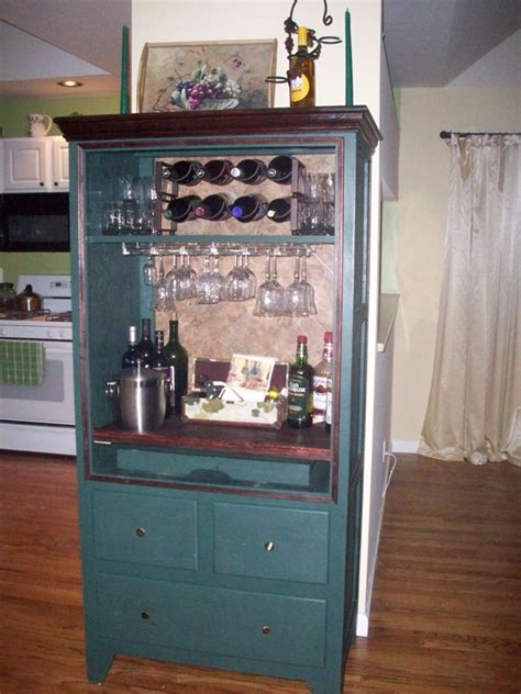 armoire cabinet into a bar repurposing furniture