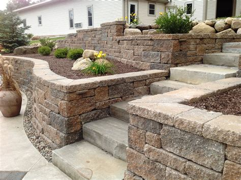 terraced retaining wall backyard project idea terraced walls with stairs allanblock abeuropa alwaysbetter