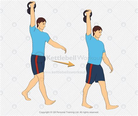 kettlebell overhead hold shoulder walk exercises arm shoulders straight