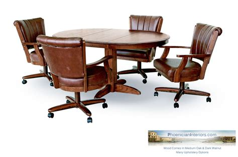 Dinette Table With Caster Chairs by 4 Caster Dining Chairs With Solid Wood Table Set Oak Or