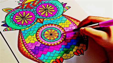 owl colors sharpie color time owl mandala part 2
