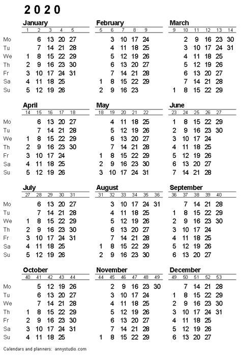 printable calendar monday week start iso week numbers single