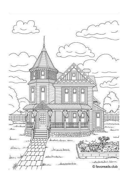 Coloring Pages Adult Colouring Victorian Houses Adults