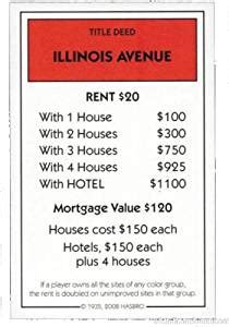 amazoncom monopoly replacement illinois avenue deed red
