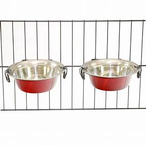 2 Stainless Steel Dog Bowls with Hooks Pet Food Water ...
