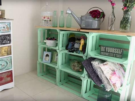 muebles  cajas de madera reciclados hechos frutas