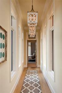 narrow hallway rug and beautiful lights With interior decor hallways