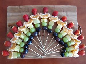 Rainbow fruit skewers for potluck parties (10 minutes