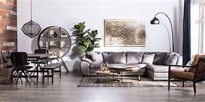 Industrial, Living, Room, With, Vaughn, Granite, Sectional
