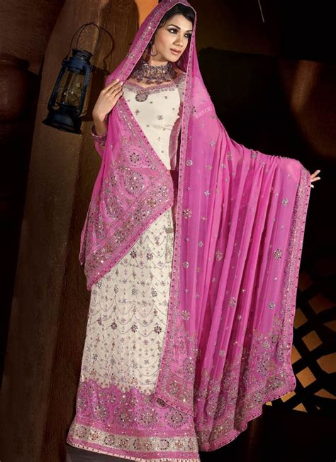 pink white indian bridal lengha ref 549