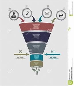Funnel Flow Chart  Vector Template For Diagram Stock