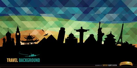 world monuments silhouettes background vector