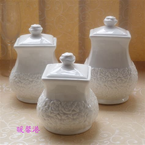 white ceramic kitchen 3pcs porcelain enamel kitchen canister set coffee sugar