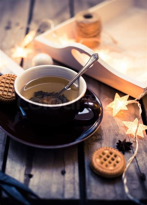winter holiday background cup  tea stock photo