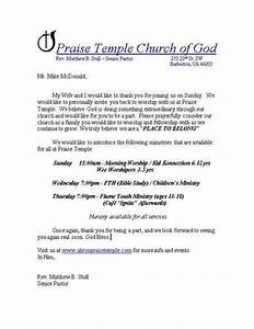 first time visitor follow up letters With church welcome letter template