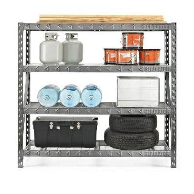 gladiator welded steel garage shelving unit gladiator 73 in h x 77 in w x 24 in d 4 shelf welded